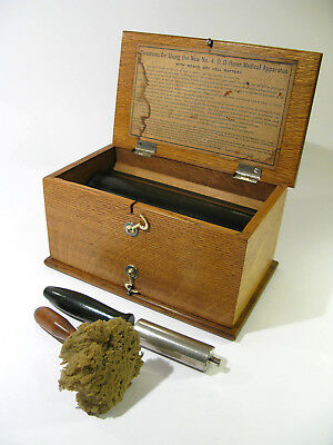 Antique Late 1800s No.4 D.D. Home Medical Apparatus with Accessories—Oak Box