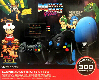 New  Gamestation Retro My Arcade Data East Hits 300 Games Plug in 3 controllers