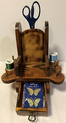 Vintage wood sewing notions chair,  Wooden rocker to hold scissors, thread, etc.