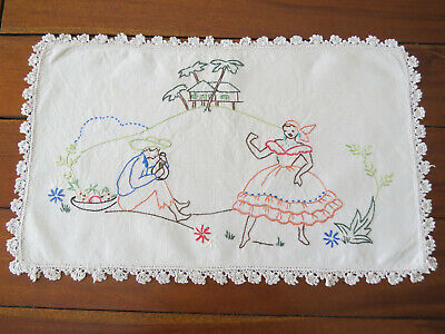 "Embroidered ""Tropical Island"" Table Center Doily"