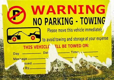 Parking Violation Stickers for Cars - 50 Vehicle is Illegally Parked Tow - - X