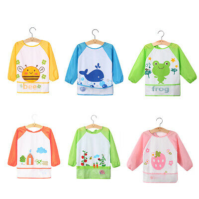Kids Baby Toddler Waterproof Long Sleeve Bib Cartoon Feeding Smock Apron Popular