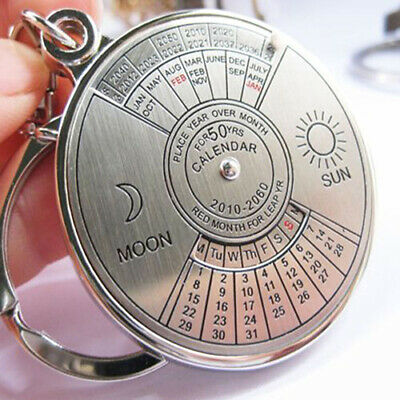 50 Years Perpetual Calendar Keyring Keychain Silver Alloy Key Chain Ring Unique