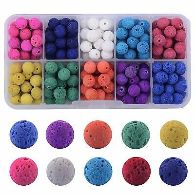200pcs 8mm Round Loose Color Lava Stone Beads Box Kit Bracelet Necklace Jewelry