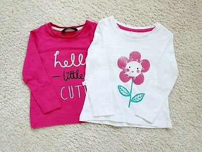 Baby Girls George Pink Lovely Little Flower Long Sleeve Top Age 12-18 Months
