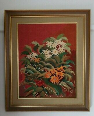 Beryl Foster FRAMED hand worked TAPESTRY PICTURE A Gift of Flowers