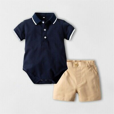 US Summer Toddler Boy Baby Gentleman Outfits Top Shirt+Short Pants Clothes Set