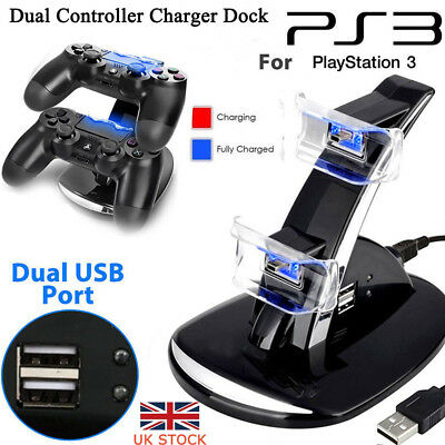 UK For Playstation PS3 Dual-Controller Charger LED-Charging Dock-Station Stand