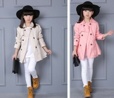 New Fashion Double Kids Girls  Breasted Trench Coat Wind Jacket Dress Outwear