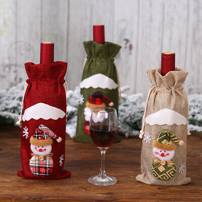 1pc Santa Clause Wine Bottle Cover Christmas Holiday Season Party Gifts Stylish