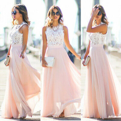 Ladies Long Chiffon Lace Evening Party Ball Gown Prom Bridesmaid Maxi Pink Dress