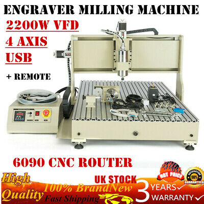 USB 4 Axis 6090 CNC Router Engraver Milling Machine Metal Cutting 2200W + Remote