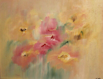 Contemporary impressionist oil painting still life with flowers signed