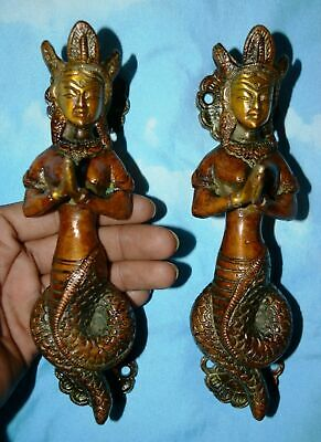 Mermaid Door Handle Brass Handmade Finish Naagkanya Shape Pull Door Decor AU76