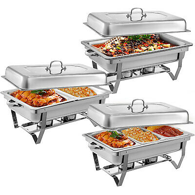 Stainless Steel Chafing Dishes 9L with 1/2 1/3 Inserts Chafer Buffet Food Warmer