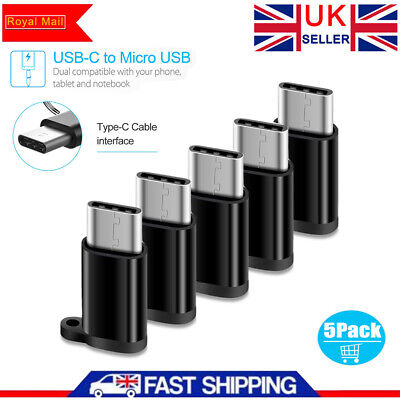 5PCS Micro USB Female to USB C Male Converter Connector USB 3.1 Type C Adapter !