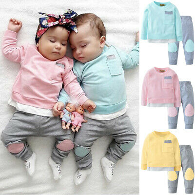 Newborn Infant Baby Boys Girls Long Sleeve Shirt Tops +Pants Trousers Outfits UK