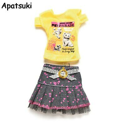 1Set Casual Doll Clothes Yellow Short Sleeve T-shirt Tutu Skirt for Barbies Doll
