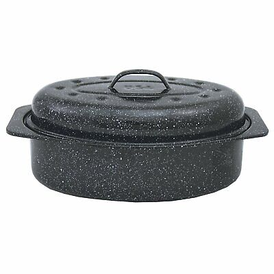 Carbon Steel Construction,Naturally Nonstick Granite Ware Covered Oval Roaster