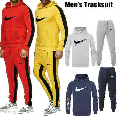 Men Tracksuit Top And Bottom Set Suit Hoodie Trousers Jogging Joggers Grey Sport