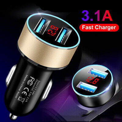Car Charger Double Usb Twin 2 Port Display Dual 12-24V Cigarette Socket Lighter