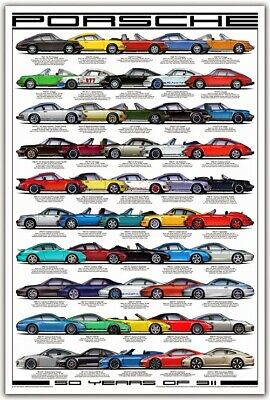 A3 Porsche 911 50 Years Anniversary Evolution Poster Brochure Picture Art Print