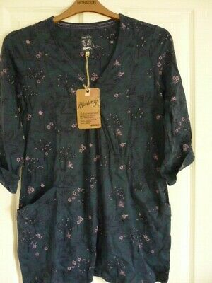 Mantaray Navy Green Pink Black Forest Jersey Tunic Top Uk 12 Eur 38-40, Us 8 Nwt