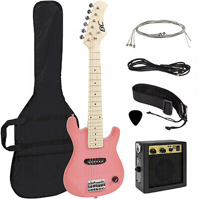 Kids Electric Guitar Instrument Starter Kit 30 Inch with 5w Amp Strap Case Pink