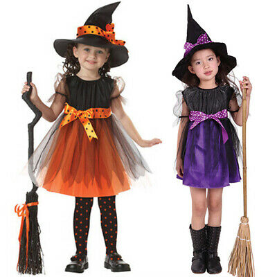 Kids Baby Girls Halloween Costume Dress Party Dresses+Hat Outfit Ball Gown Caps