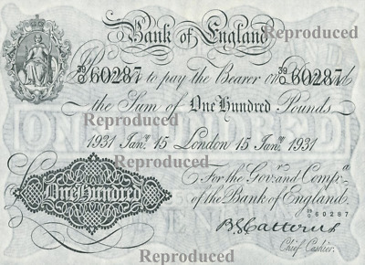 Old White One Hundred Pound Note  on thin linen type paper