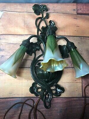Antique Cast Metal Pond Lily 3 Light Wall Sconce W/ Lundberg Shades (13)