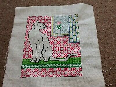 Completed cross stitch siamese cat picture FREEPOST