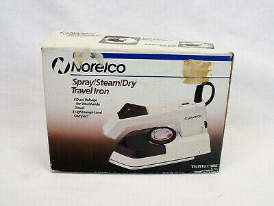 Norelco Travel Iron vintage spray steam dry dual voltage in box with travel bag