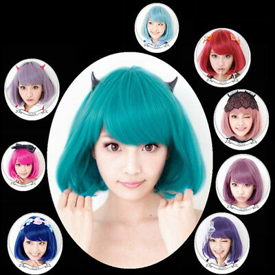 Cy_ Anime Costume Cosplay Straight Curly Hair Wig Women Lovely Bob Hairpiece Div