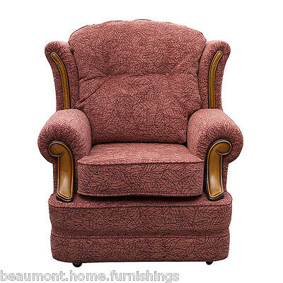 High Back Armchair Rose Leaf Fabric Wing Chair Queen Anne Fireside Living Room
