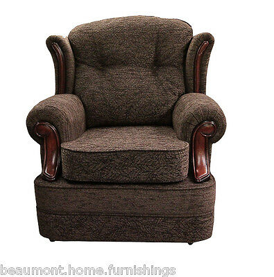 High Back Armchair Brown Leaf Fabric Wing Chair Queen Anne Fireside Living Room