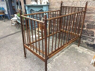 Antique Wooden Zed Cot With Sliding Side And Original Springs
