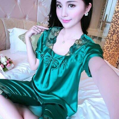Womens Satin Pyjama Set Silk Night Wear Pajamas Short Sleeve Nightwear Summer