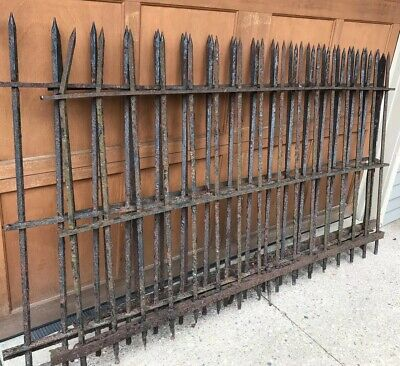 Set of 3 Romeo Cemetery Antique Wrought Iron Fence Antique Cast Iron Spade Tip