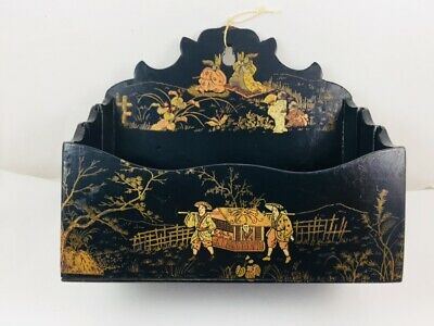 Antique Black Lacquer Chinoiserie Wall Box Letter Holder Gold Gilt Painted