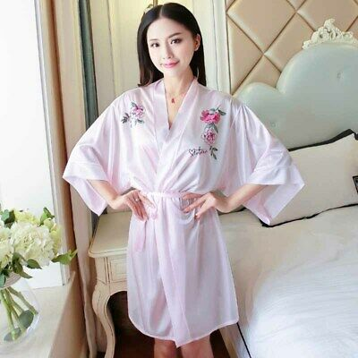 Womens Silk Satin Sexy Sleepwear Lace Long Bride Kimono Robe Night Dressing Gown