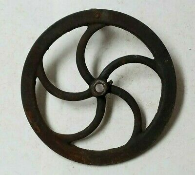 STEAMPUNK INDUSTRIAL MACHINE AGE CRANK WHEEL w/ WOOD HANDLE 14-1/2 in. CAST IRON