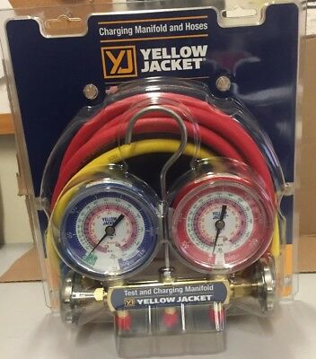 YELLOW JACKET 42004 - Series 41 Manifold 3-1/8-Inch Gauges with Hoses R22 404A 4
