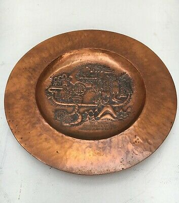 Arts & Crafts Copper Plaque Tray Repousse Wall Decoration