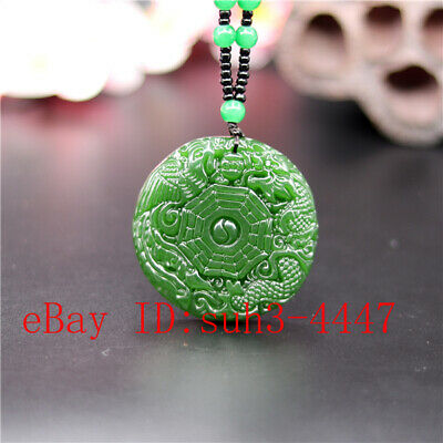 Green Dragon Phoenix Carved Jade Pendant Necklace Charm Jewelry Amulet Gifts