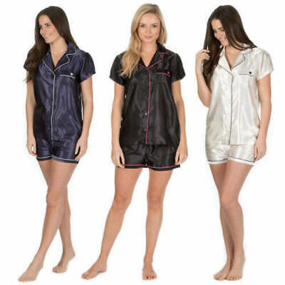 Ladies Silky Satin Pyjama Top Shorts Nightwear Sleepsuit Pjs Wedding Gift Set