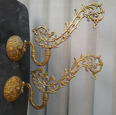 Pair of Ornate Cast Brass Arm Electric Lamp Hanger Holder Wall Sconce Bracket