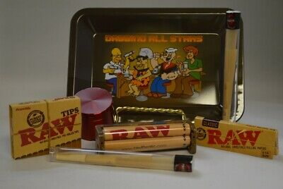 NEW Mini Dab Rolling Tray Bundle Raw Roller *Paper *Tips *Grinder *2 Doob Tube