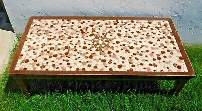 intage~60s~70s Tile Mosaic Table~Retro~Mid Century Modern~Atomic~Neutral Colors
