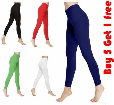 Women's ladies plain soft stretchy viscose leggings UK size 8-26 *CtnLgs